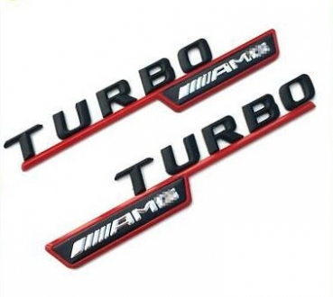 Mercedes AMG Turbo Emblem glossy black / red