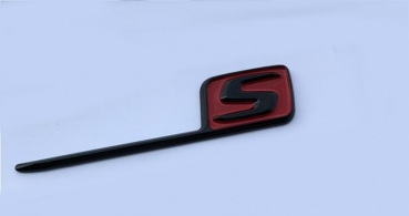 Mercedes __S Emblem black glossy red